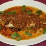 Sea Bass in Chilli Sauce with Bacon