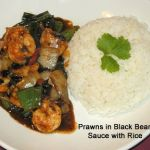 Prawns in Black Bean Sauce & Green Pepper with Rice